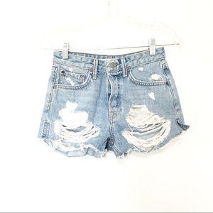 Grlfrnd Womens Cindy Cut Off Jean Shorts Destroyed